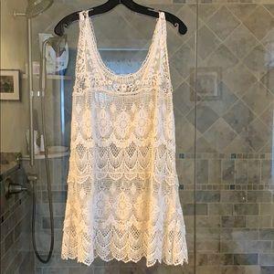 Off white crochet see through mini dress